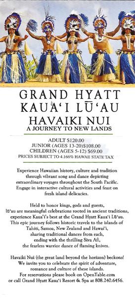 Grand Hyatt Luau - Havaiki Nui - Kauai